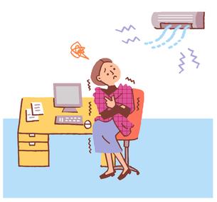 エアコンで体が冷える女性のイラスト素材 [FYI04679494]