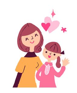 笑顔のお母さんと女の子のイラスト素材 [FYI04679500]