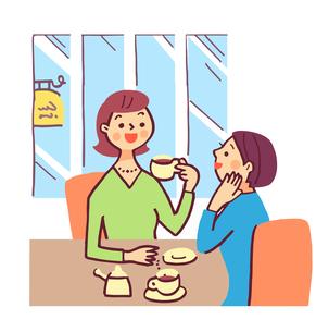 喫茶店でくつろぐ女性のイラスト素材 [FYI04679530]