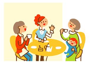 cafeでお茶を飲むママ友のイラスト素材 [FYI04679534]