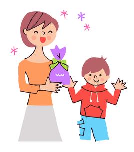 プレゼントをもらって喜んでいるお母さんのイラスト素材 [FYI04679547]