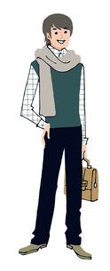 マフラーをした若い男性のイラスト素材 [FYI04679550]