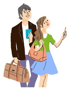 旅行するカップルのイラスト素材 [FYI04679551]