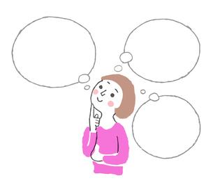 考える女性 ふきだしのイラスト素材 [FYI04679565]