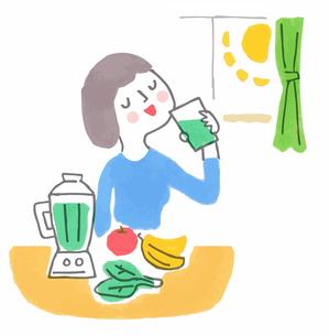 フレッシュな野菜ジュースを飲む女性のイラスト素材 [FYI04679573]