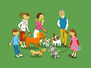 散歩 複数の犬と飼い主のイラスト素材 [FYI04679581]