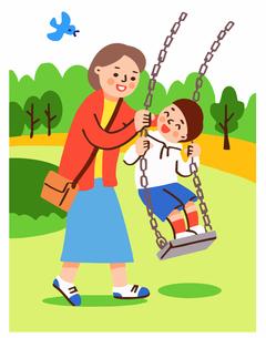 ブランコで遊ぶ親子のイラスト素材 [FYI04679584]