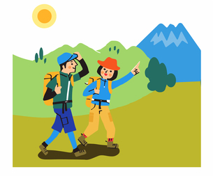 登山するカップルのイラスト素材 [FYI04679585]