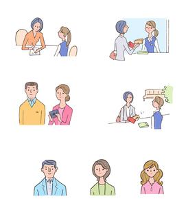 シニア夫婦 窓口での受付シーン セット のイラスト素材 [FYI04679592]