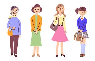 いろいろな世代の女性のイラスト素材 [FYI04679594]