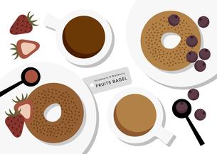 ベーグルとフルーツとコーヒーのイラストのイラスト素材 [FYI04679846]