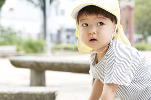 公園で上を見上げる子供の写真素材 [FYI04679874]