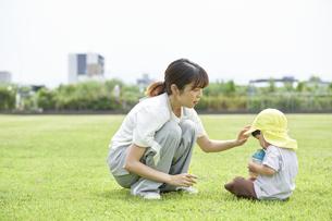 芝生で座って子供にお茶を飲ませる女性の保育士の写真素材 [FYI04679891]