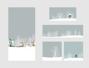 レトロな冬の風景フレームセットのイラスト素材 [FYI04680487]