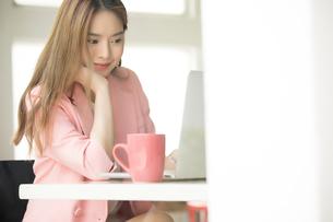 ノートパソコンで仕事している若い女性社員の写真素材 [FYI04680625]