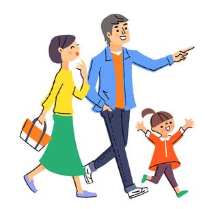 目標に向かって歩く3人家族のイラスト素材 [FYI04680682]