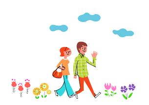 花畑を歩く若いカップルのイラスト素材 [FYI04680690]