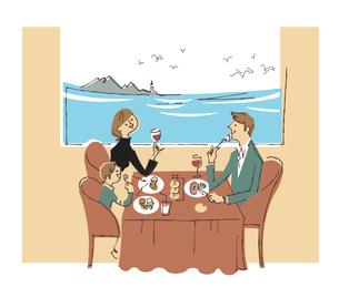 海が見えるレストランで食事する家族のイラスト素材 [FYI04680696]