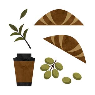 コーヒーとクロワッサン 水彩イラストのイラスト素材 [FYI04680879]