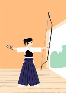 弓道をする女性のイラスト素材 [FYI04681113]