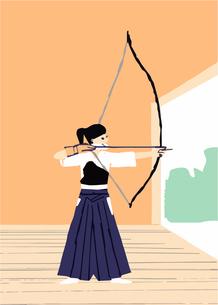 弓道をする女性のイラスト素材 [FYI04681114]