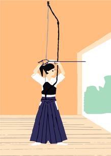 弓道をする女性のイラスト素材 [FYI04681115]