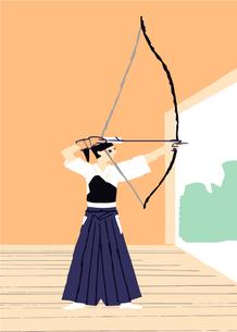 弓道をする女性のイラスト素材 [FYI04681116]