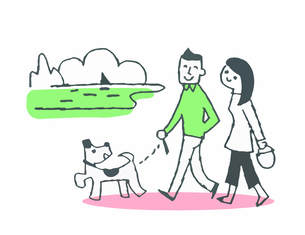海岸を犬と散歩をするカップルのイラスト素材 [FYI04681122]