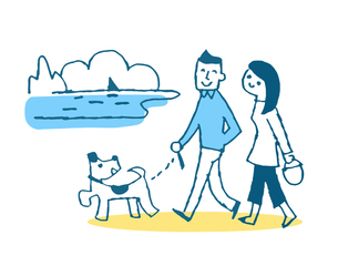 海岸を犬と散歩をするカップルのイラスト素材 [FYI04681123]