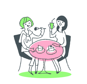 カフェでケーキを食べる女性ふたりのイラスト素材 [FYI04681124]