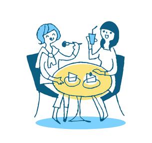 カフェでケーキを食べる女性ふたりのイラスト素材 [FYI04681125]