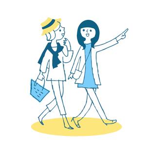 歩く2人の若い女性のイラスト素材 [FYI04681130]