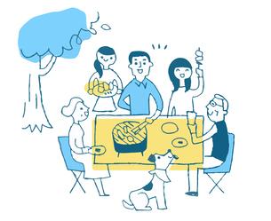 バーベキューを楽しむ家族 のイラスト素材 [FYI04681132]