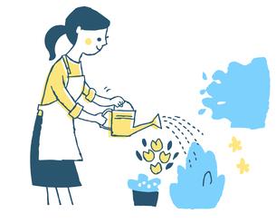 花に水やりをする主婦のイラスト素材 [FYI04681137]