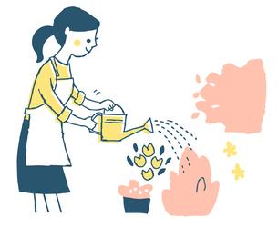 花に水やりをする女性のイラスト素材 [FYI04681138]