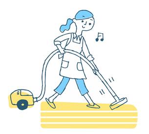 掃除機をかける女性のイラスト素材 [FYI04681139]