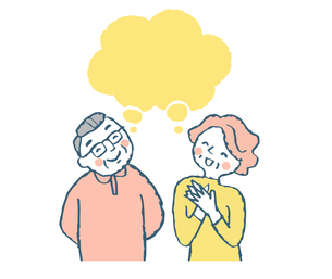笑顔のシニア夫婦とふきだしのイラスト素材 [FYI04681158]