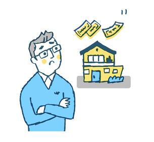 家の事を考える男性のイラスト素材 [FYI04681165]