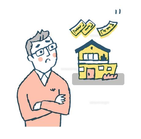 家の事を考える男性のイラスト素材 [FYI04681166]