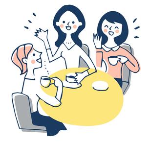 カフェでおしゃべりをする3人の女性のイラスト素材 [FYI04681171]