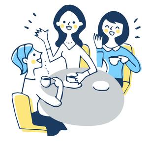 カフェでおしゃべりをする3人の女性のイラスト素材 [FYI04681172]