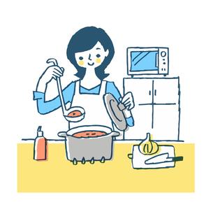 キッチンで料理を作っている主婦のイラスト素材 [FYI04681210]