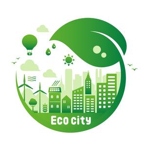 エコ・エコロジー・自然・環境保護に配慮した都市生活イメージ 円形バナーイラストのイラスト素材 [FYI04681432]