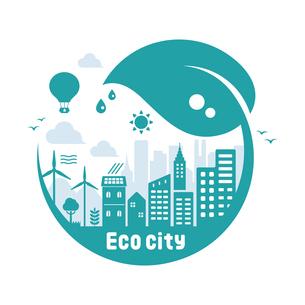 エコ・エコロジー・自然・環境保護に配慮した都市生活イメージ 円形バナーイラストのイラスト素材 [FYI04681435]