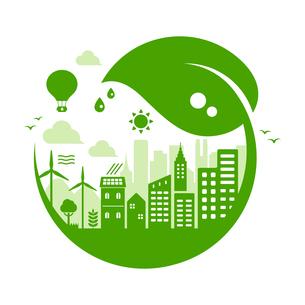 エコ・エコロジー・自然・環境保護に配慮した都市生活イメージ 円形バナーイラストのイラスト素材 [FYI04681437]
