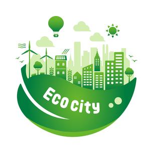 エコ・エコロジー・自然・環境保護に配慮した都市生活イメージ 円形バナーイラストのイラスト素材 [FYI04681439]