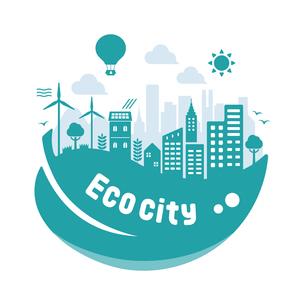 エコ・エコロジー・自然・環境保護に配慮した都市生活イメージ 円形バナーイラストのイラスト素材 [FYI04681441]
