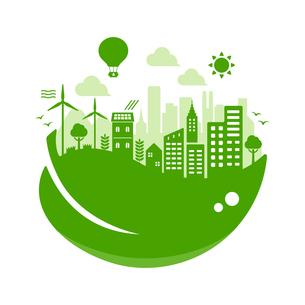 エコ・エコロジー・自然・環境保護に配慮した都市生活イメージ 円形バナーイラストのイラスト素材 [FYI04681444]