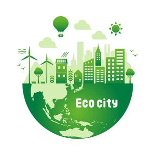 エコ・エコロジー・自然・環境保護に配慮した都市生活イメージ 円形バナーイラストのイラスト素材 [FYI04681447]