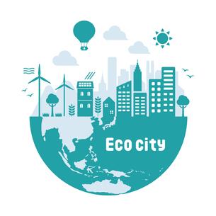 エコ・エコロジー・自然・環境保護に配慮した都市生活イメージ 円形バナーイラストのイラスト素材 [FYI04681449]